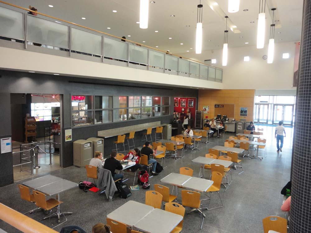 Here is a food court on campus for students to go to.