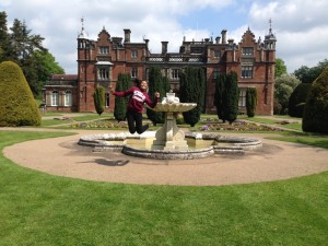 Clarisa Morales in front of Keele Hall, Keele University, England.