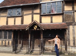 Clarisa Morales in front of Shakespeare's home, Stratford-upon-Avon, England.