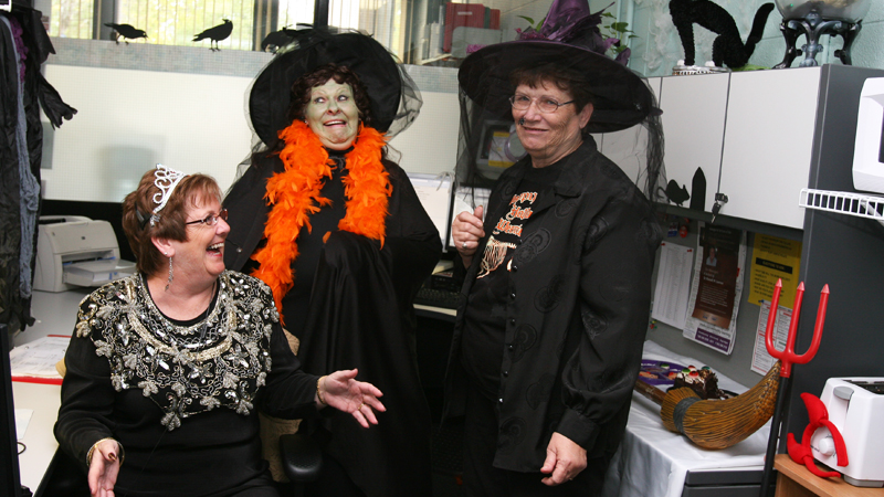 "Brock's switchboard became ""the Witchboard"" today, as Linda Crawford, Linda Holder and Beth Winterbottom got in the Halloween spirit."