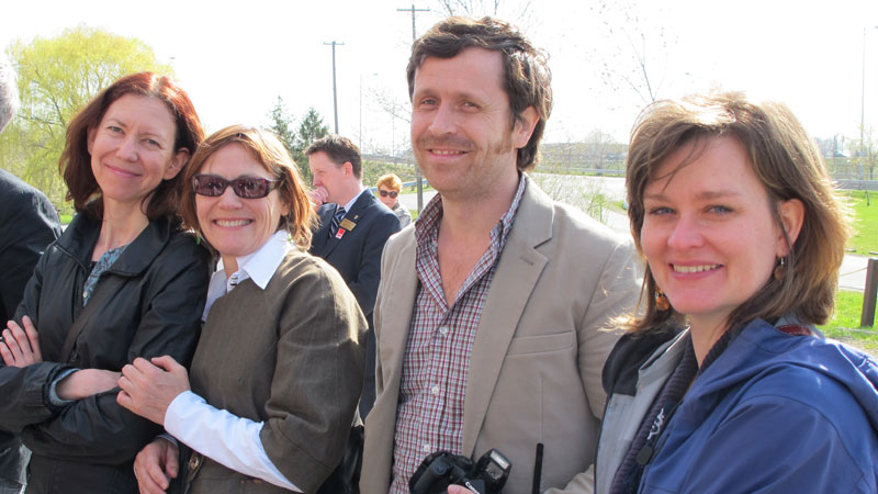 Marlene Moser, left, attended the announcement of provincial funding for the new downtown Marilyn I. Walker School of Fine and Performing Arts in April with colleagues Gyllian Raby, David Fancy and Danielle Wilson. Photo: David Vivian