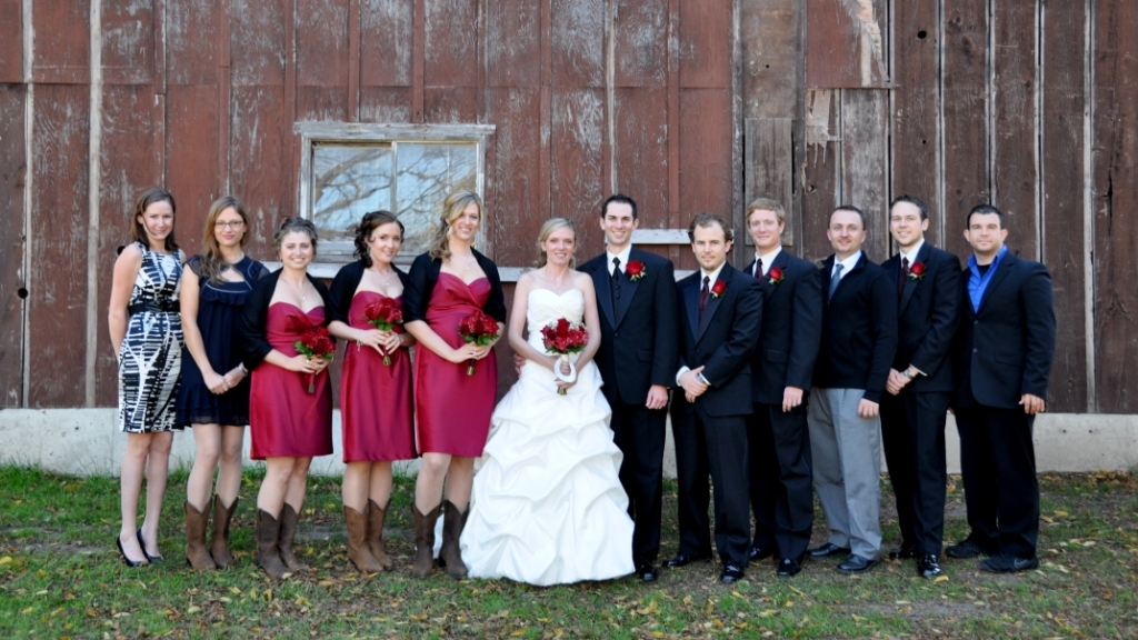 Brock University alumni sweethearts wedding party