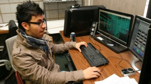 Student Guillermo Chevez works on Psychosis.