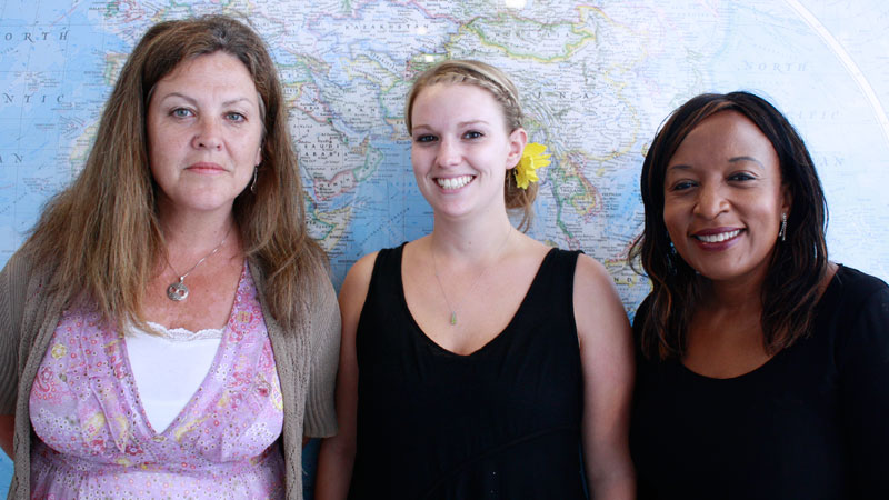 Elyse Giroux, centre, is headed to South Africa for an internship. Leigh Pritchard, left, was last year's intern at North-West University. Dolana Mogadime, right, helps co-ordinate it.