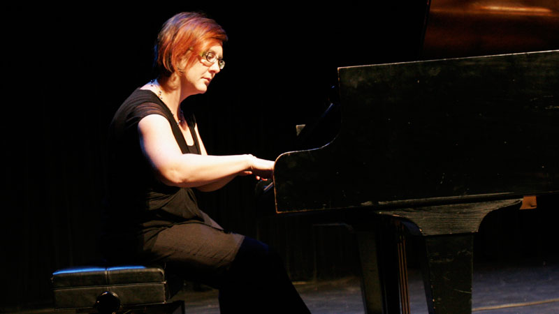 Karin Di Bella performs songs by Franz Liszt and Lady Gaga at Brock University's Band Aide concert for East African famine relief