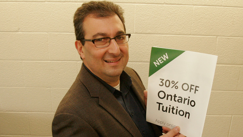 Rico Natale, director of Student Awards and Financial Aid, is encouraging students to see if they apply for 30 per cent off their tuition.
