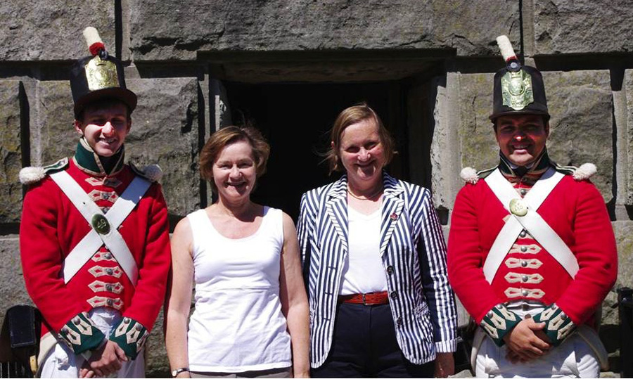 UK visitors Vivien Brock Barnes (second from left) and Penny Brock Strong joined family members on Tuesday at Brock's Monument where they encountered soldiers from the 49th Regiment. Both women are Sir Isaac Brock's first cousins, five times removed.