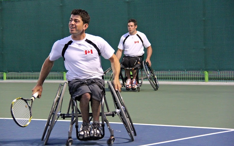 Joel Dembe (foreground) heads to the Paralympics in London next month to compete in wheelchair tennis. Dembe is ranked first in Canada and 36th in world.
