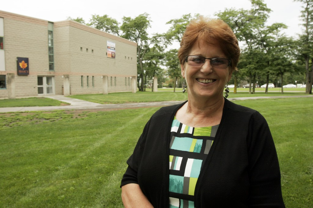 Lynne Irion, alumni relations co-ordinator, is retiring after 24 years at Brock University. She's seen here in front of the Student-Alumni Centre, for which she helped with the fundraising campaign.