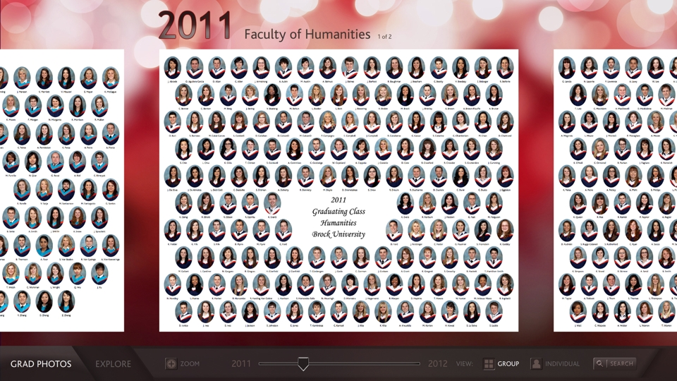 A screen grab from the new alumni digital display, which will serve as a virtual library of Brock's 75,000 alumni.