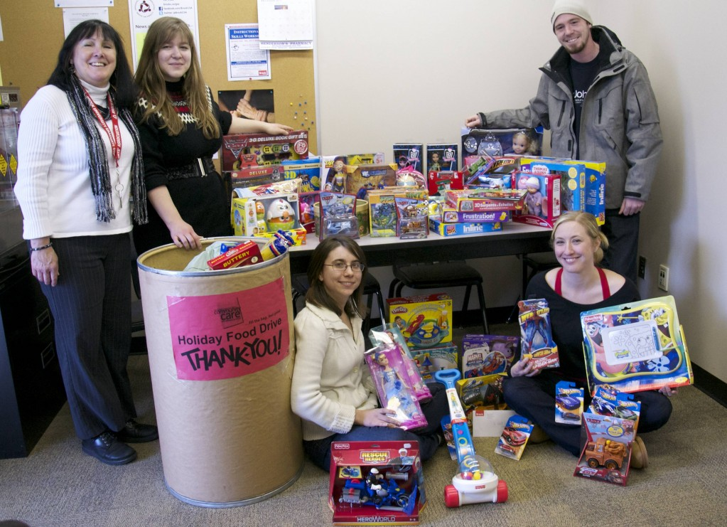 The Graduate Students' Association held a toy and food drive for Community Care of St. Catharines and Thorold. Seen here are (from left) Barb Daly, GSA office co-ordinator, Rachel Nottrodt, Cailin Rothwell, Amanda Lepp, GSA vice-president of communications and Taylor Dawson, GSA Senate representative.