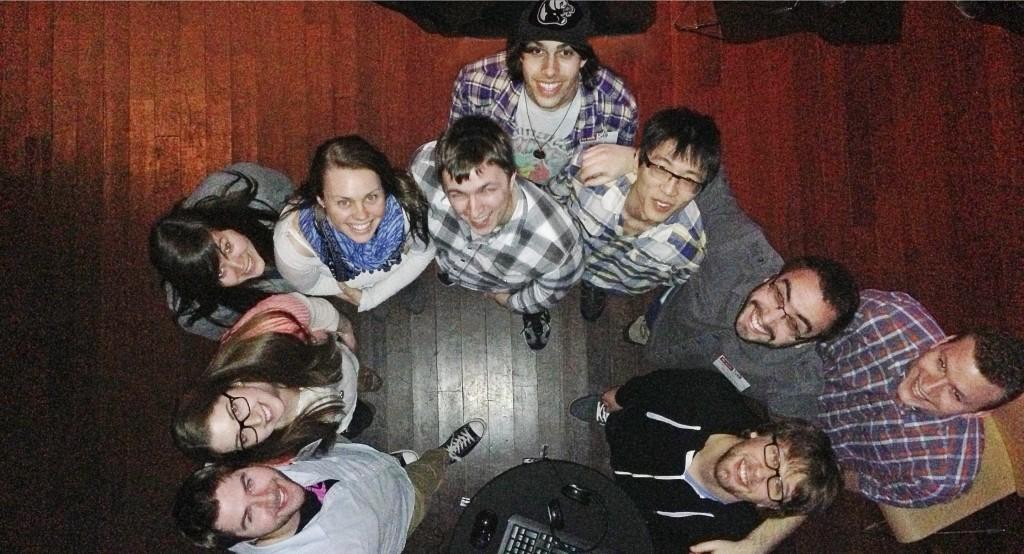 Awaken's team of creators (clockwise from bottom left: Kevin Greene, Kristin Clancy, Jess Bradshaw, Maja Samborski, Mark Hellyer, Nick Kotsopoulos, James Li, Ben MacDonald, Andrew George and Adam Bodden. Not pictured: Patrick Gagliardi, Jasmin McGahan.