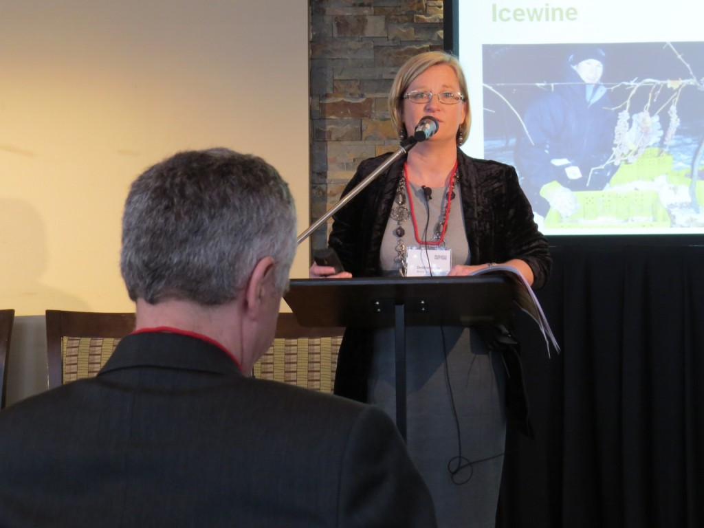 Debbie Inglis, director of Brock's Cool Climate Oenology and Viticulture Institute, spoke about the future of Niagara's grape and wine industries at a Research Matters event on April 16.