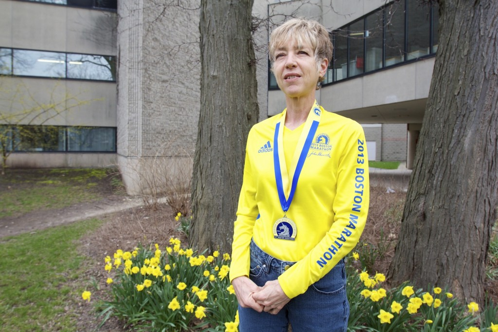 Kelli-an Lawrance, associate professor in Community Health Sciences, participated in last week's Boston Marathon. She plans to return next year as a show of solidarity with Boston after the Marathon bombings.