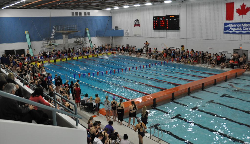 Swim meets, like this competitive high school meet, are back on at the Eleanor Misener Aquatic Centre after the centre re-opened last month. Pool users are praising improvements to air quality and noise levels at the centre.