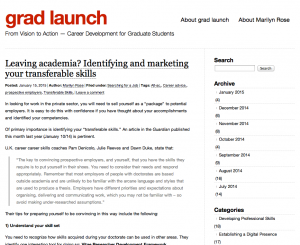 Twice a week, 'grad launch' offers posts of tips, advice and encouragement.