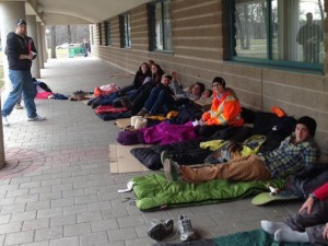 Students participate in 5 Days for the Homeless in March 2015.