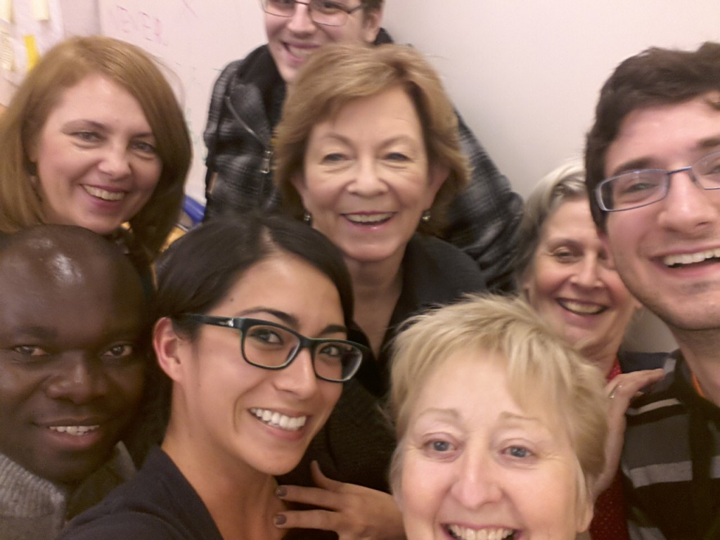 Jill Grose (foreground) and Lianne Fisher (back row, second from right) with students from The Practice of University Teaching