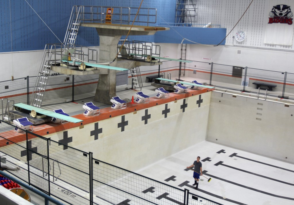 Behind the scenes of eleanor misener aquatic centre the brock news for How deep is a olympic swimming pool