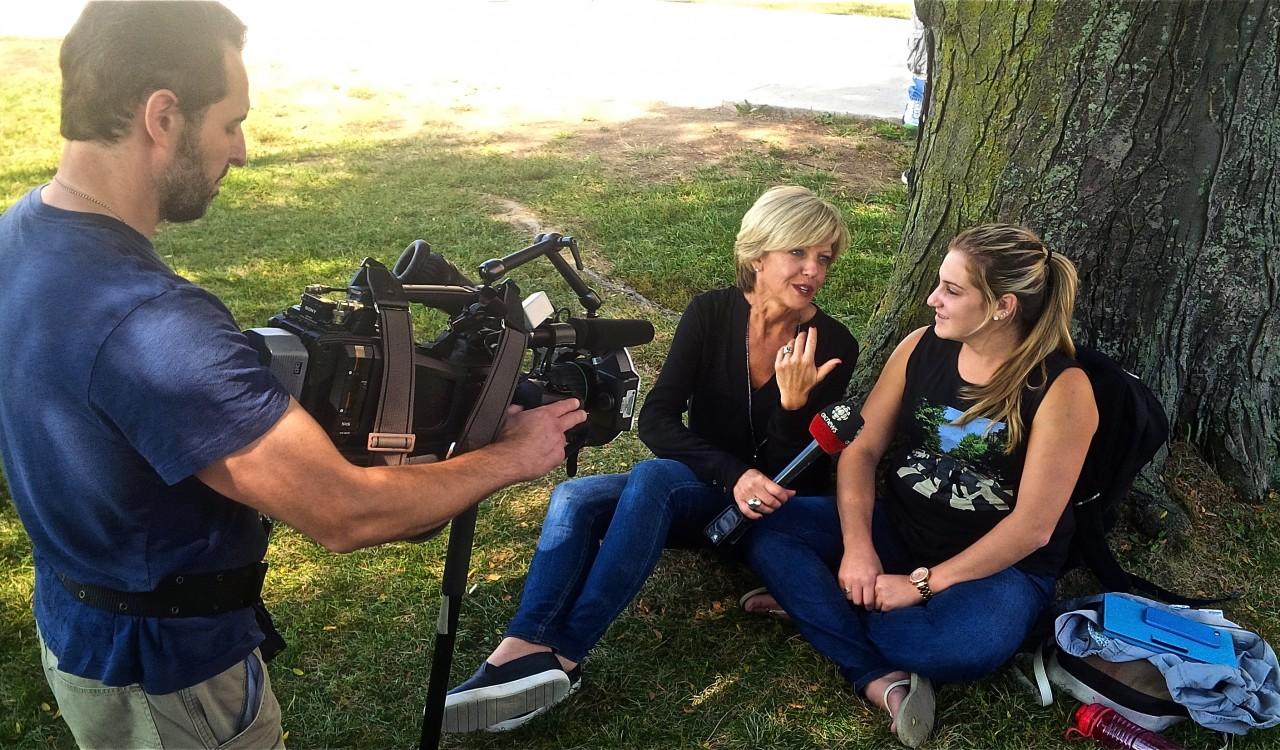 People being interviewed on TV