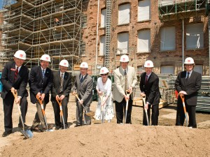 Marilyn I. Walker and Brock University staff and dignitaries put shovels in the ground at the new MIWSFPA.