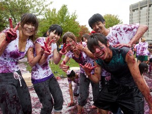 Brock University international students taking part the annual Grape Stomp event.