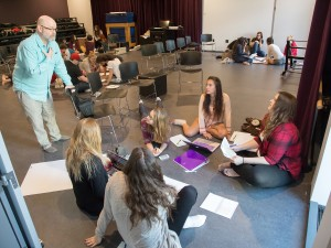 Students break off into groups in a theatre class at the MIWSFPA.