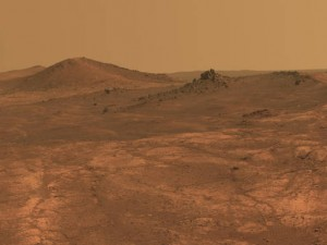 "An elongated crater called ""Spirit of St. Louis,"" is shown in a photo from NASA's Mars Exploration Rover Opportunity."