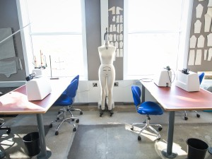 Sewing stations in the costume shop at the new MIWSFPA.