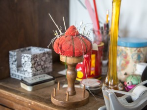 A pincushion in the costume shop of the new MIWSFPA.