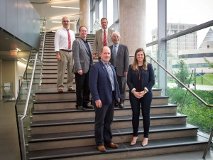 Dan McGrath, bottom left, was named this year's top alumnus by Brock University Alumni Association. Five other alumnus were awarded faculty graduate awards, including Mark Arthur, middle left, Craig Tallman, bottom left, Scott Maxwell, top right, Yousef Haj-Ahmed and Erin Mathany.