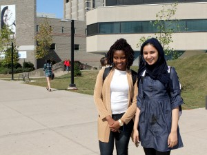 First-year Brock University students Samantha Fenelon, left, and Adeebah Zain.