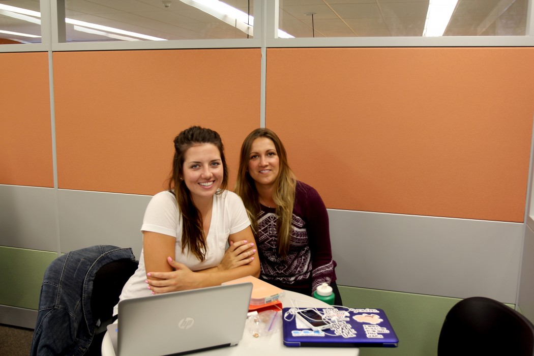 Fourth-year Kinesiology students Natasha Prokofiew, left, and Kelsey Zwicker are enjoying the new group study space on the sixth floor of the James A. Gibson Library.