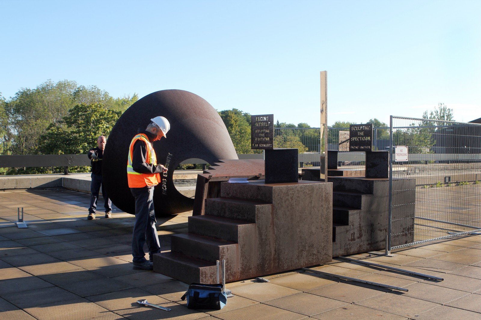 Brock University project manager Scott Roper is co-ordinating the move of the University's three Buky Schwartz sculptures from the main campus to the new Marilyn I. Walker School of Fine and Performing Arts.