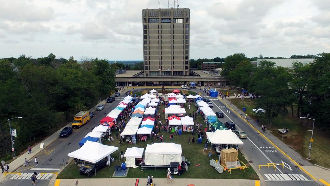 An aerial view of the vendor fair on Schmon Tower field.