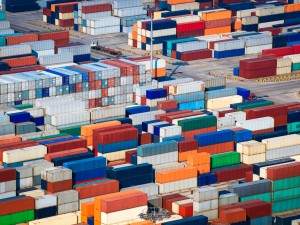 Shipping containers in a sea port.