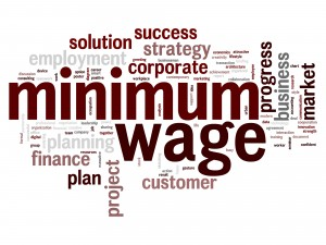 Minimum wage word cloud.