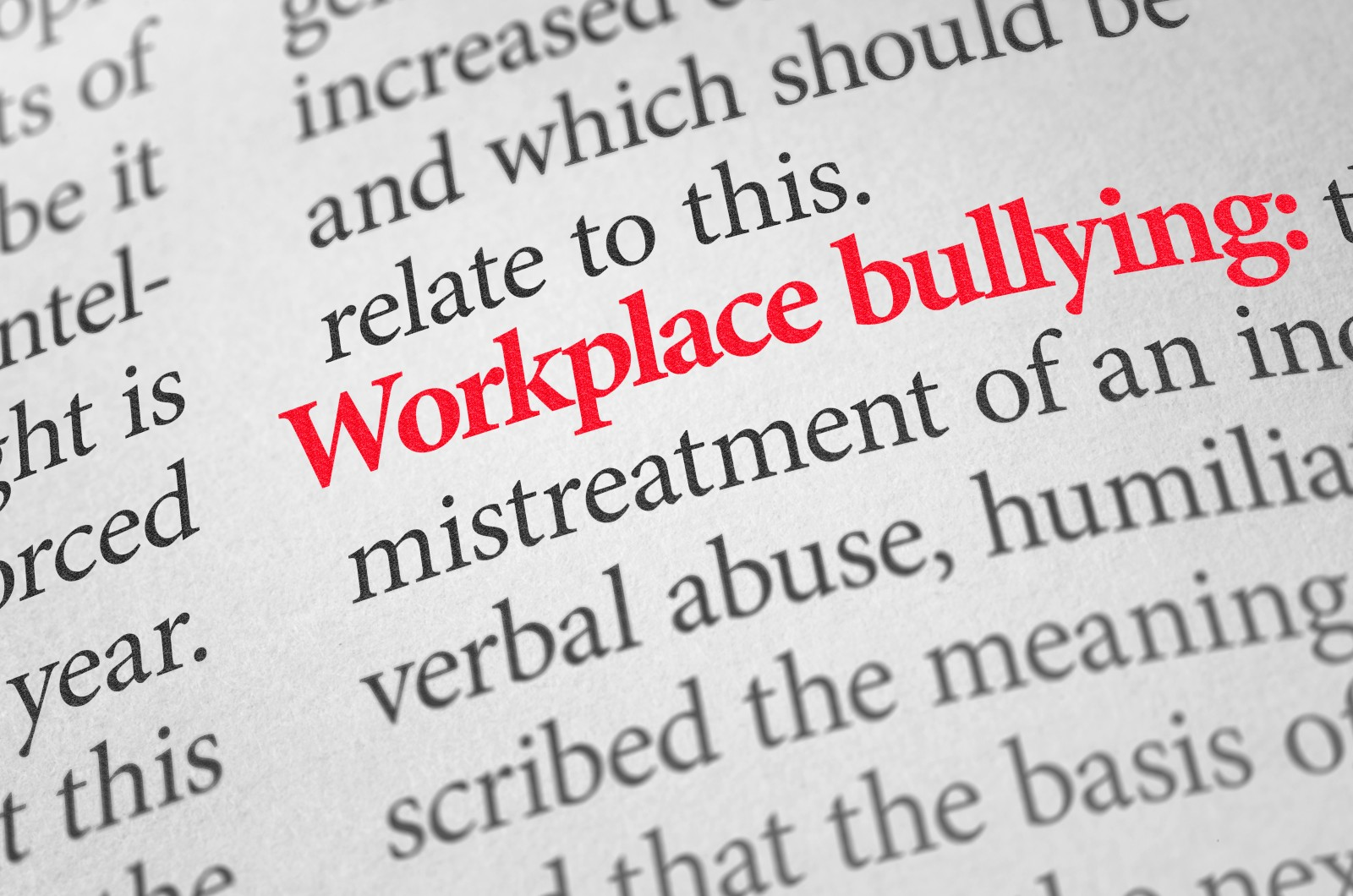 Definition of the term Workplace bullying in a dictionary