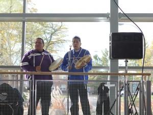 Aboriginal musicians drummed the grads into convocation.