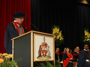 Outgoing Chancellor Ned Goodman gives his final convocation address.