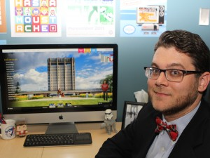 Joseph Gottli shows the opening page of Brock University's new virtual tour.