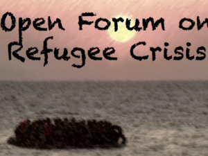 """Poster showing sunset and boat full of refugees with words """"Open forum on refugee crisis"""""""