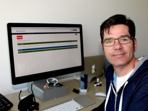 Dale Bradley, assistant professor in the Department of Communication, Pop Culture and Film, displays the online course he developed - New Media Literacy - on the new eCampus Ontario portal.