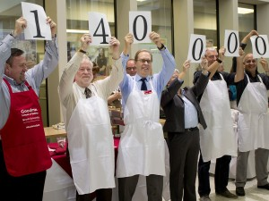Brock University's United Way campaign goal was unvield to be $140,000 Wednesday at the annual Souper Star Lunch. From left are Don Cyr, Dean, Goodman School of Business, David Siegel, interim Dean of Faculty of Education, Peter Tiidus, Dean of the Faculty of Applied Health Sciences, Carol Merriam, interim Dean of the Faculty of Humanities, Nick Baxter-Moore, Associate Dean in the Faculty of Social Sciences and Hichem Ben-El-Mechaiekh, Associate Dean in the Faculty of Mathematics and Sciences.