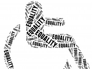 Tag or word cloud disability related in shape of human on wheelchair