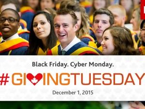 "Giving Tuesday graphic that says ""Black Friday-Cyber Monday. Giving Tuesday. December 1, 2015"