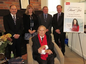 From left are Jack Lightstone, President, Brock University, Michele Thornley, Trustee of The Joyce Foundation, David Wagstaff, Trustee of The Joyce Foundation, John Suk, Chair of the Brock University Board of Trustees and Ron Joyce, sitting.