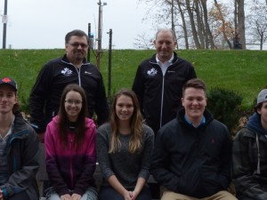 Sport Management 2P05 students (front row L-R) Robert Koen, Daria Fedorowyca, Emily Stratford, Mitch Johnson and Jake Sparks with (back row L-R) Ted Roworth and Paul Vincent of CanoeKayak Canada - Western Ontario Division.