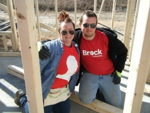 Angela Mott and Steven Bubonja, two Brock University students, helped build a Habitat for Humanity home in Sumter, South Carolina.