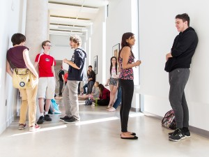 Students in the hallway at the Brock University Marilyn I. Walker School of Fine and Performing Arts which opened in September, 2015.
